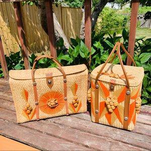 Vintage Straw Mazatlan Bags Suitcases Beach picnic